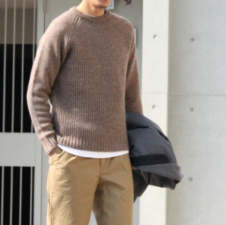 「FUJITO」(フジト)Crew Neck Rib Knit Sweater